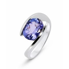 Bague Or Blanc 750 Tanzanite Ovale 10x8mm