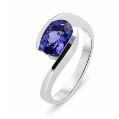 Bague Or Blanc 750 Tanzanite Ovale 9x7mm