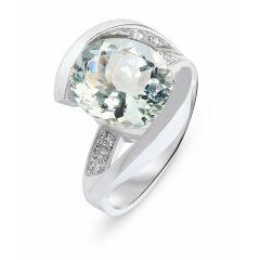 Bague Or Blanc Aigue Marine 12x8mm et Diamants