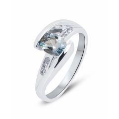 Bague Or Blanc Aigue Marine 7x5mm et Diamant