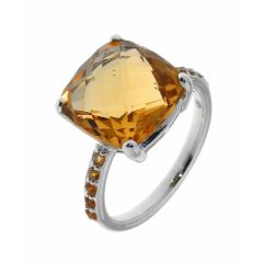 Bague Or Blanc Citrine Coussin 12mm