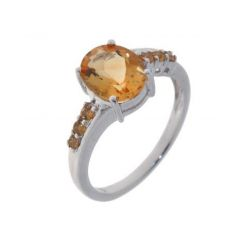 Bague Or Blanc Citrine Ovale 10x8mm