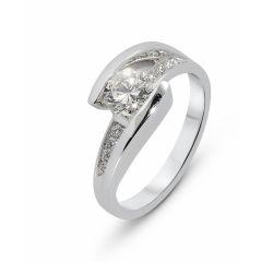 Bague Or Blanc Diamant 0.90ct