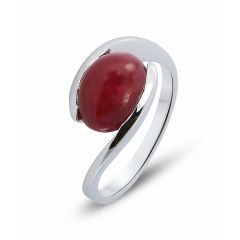 Bague Or Blanc Rubis Ovale Cabochon 10x8mm