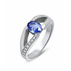 Bague Or Blanc Saphir Ovale 7x5mm et Diamant