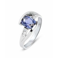 Bague Or Blanc Saphir ovale 8x6mm et diamant
