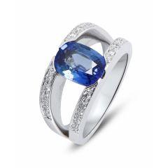 657d5451c93 Bague Or Blanc Saphir Ovale 9x7mm et Diamant