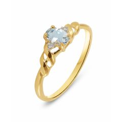 Bague Or Jaune 375 Aigue Marine Ovale 6x4mm et Diamant