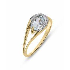 Bague Or Jaune 375 Aigue Marine Ovale 7x5mm et Diamant