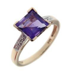Bague Or Jaune 375 Améthyste Carrée et Diamant