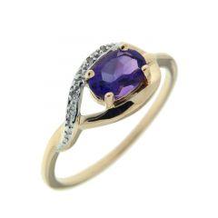 Bague Or Jaune 375 Améthyste Ovale 7x5mm et Diamant