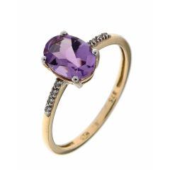 Bague Or Jaune 375 Améthyste Ovale 8x6mm et Diamant