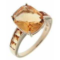 Bague Or Jaune 375 Citrine Coussin et Diamant