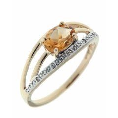Bague Or Jaune 375 Citrine Ovale 7x5mm et Diamant
