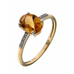 Bague Or Jaune 375 Citrine Ovale 8x6mm et Diamant
