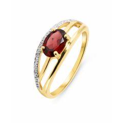 Bague Or Jaune 375 Grenat Ovale 7x5mm et Diamant