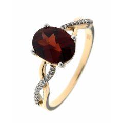 Bague Or Jaune 375 Grenat Ovale 8x6mm et Diamant