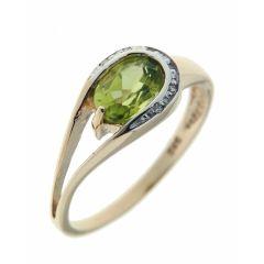 Bague Or Jaune 375 Péridot  Ovale 7x5mm et Diamant