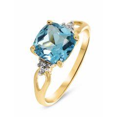 Bague Or jaune 375 Topaze Bleue Coussin 8x8mm et Diamant