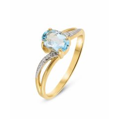 Bague Or jaune 375 Topaze Bleue Ovale 7x5mm et Diamant