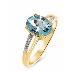 Bague Or jaune 375 Topaze Bleue Ovale 9x7mm et Diamant