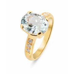 Bague Or Jaune 750 Aigue Marine Ovale 11x9mm et diamant