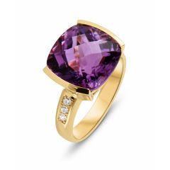 Bague Or Jaune 750 Améthyste Coussin 12x12mm et diamant