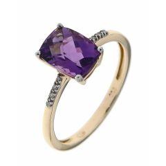 Bague Or Jaune 750 Améthyste Coussin 8x6mm et Diamant