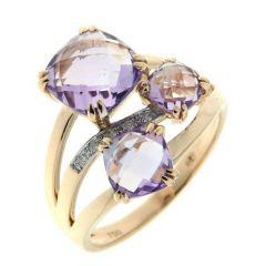 Bague Or Jaune 750  Améthyste Coussin et Diamant