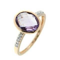 Bague Or  Jaune 750 Améthyste  Ovale 10x8mm et Diamant