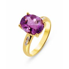 Bague Or  Jaune 750 Améthyste Ovale 12x10mm et Diamant