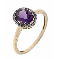 Bague Or Jaune 750 Améthyste Ovale 8x6mm et Diamant