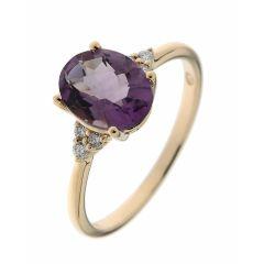 Bague Or Jaune 750 Améthyste Ovale 9x7mm et Diamant