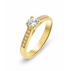 Bague Or Jaune 750 Diamant Solitaire épaulé