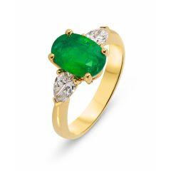 Bague Or Jaune 750 Emeraude Ovale 9x7mm et Diamant