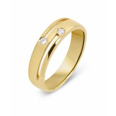 Bague Or jaune 750 et 2 Diamants