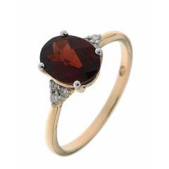 Bague Or Jaune 750 Grenat Ovale 9x7mm et Diamant