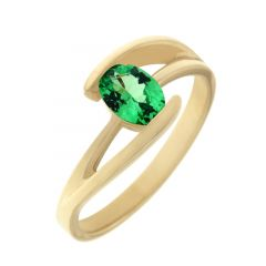 Bague Or Jaune 750 Grenat  Tsavorite Ovale 7x5mm