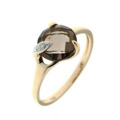 Bague Or Jaune 750 Quartz Fumé Rond 8mm et Diamant