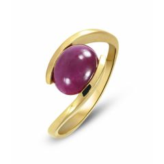 Bague Or Jaune 750 Rubis Cabochon Ovale 10x8mm