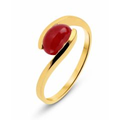 Bague Or Jaune 750 Rubis Cabochon Ovale 9x7mm
