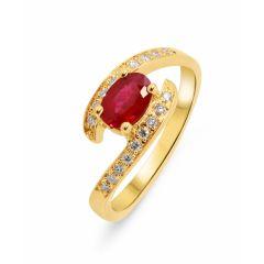 Bague Or jaune 750 Rubis ovale 7x5mm et Diamants