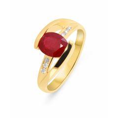 Bague Or Jaune 750 Rubis Ovale 8x6mm et Diamant