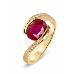 Bague Or Jaune 750 Rubis Ovale 9x7mm et Diamant