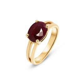 Bague Or Jaune 750 Rubis Ovale 9x7mm