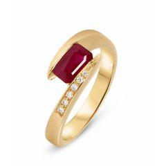 Bague Or Jaune 750 Rubis Rectangulaire et Diamant