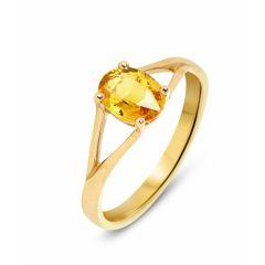 Bague Or Jaune 750 Saphir jaune traité Ovale 8x6mm