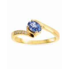 Bague Or Jaune 750 Saphir Ovale 6x5mm et diamant