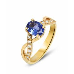 Bague Or Jaune 750 Saphir Ovale 8x6mm et Diamant