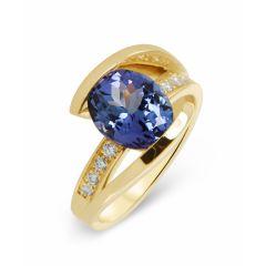 Bague Or Jaune 750 Tanzanite Ovale 10x7mm  Et Diamant